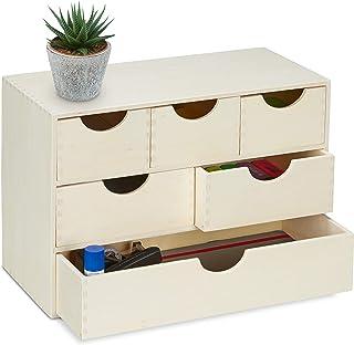 Relaxdays Boîte à tiroirs en bois, HLP: 28 x 40 x 20 cm, rangement petits objets, à décorer, 6 compartiments, nature