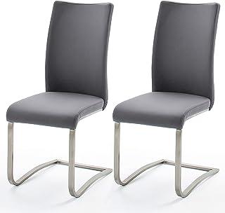 Schwinger Arco Conjunto de 2 - Frame: acero inoxidable - Cubierta: gris cuero artificial - Dimensiones W / H / D: aprox 43x103x52 cm