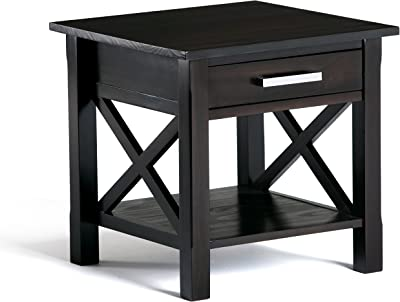 Simpli Home Kitchener SOLID WOOD 21 inch wide Square Contemporary End Side Table in Dark Walnut Brown with Storage, 1 Drawer and 1 Shelf, for the Living Room and Bedroom