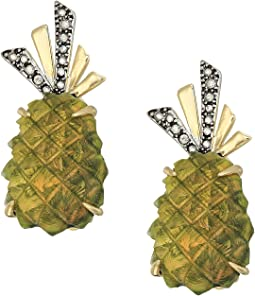 Lucite Pineapple Clip Earrings