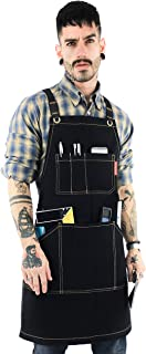 Under NY Sky Essential Black Apron – Heavy Duty Waxed Canvas, Cross-Back, Leather Reinforcement – Adjustable for Men, Women, Pro Mechanic, Welding, Woodwork, Blacksmith, Server Aprons