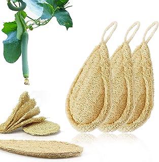 LIANGKEN 3PCS Natural Dish Sponges, Loofah Sponges Kitchen Eco Friendly, Non-Scratch Reusable Natural Dish Scrubber, 100% ...