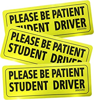 Yacoto 3 Pcs Student Driver Magnet Safety Sign Vehicle Bumper Magnet - Car Reflective Vehicle Sign Sticker Bumper for New Driver