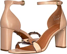 COACH Heel Sandal,Beechwood/Chalk/Saddle Link Leather Suede Mix