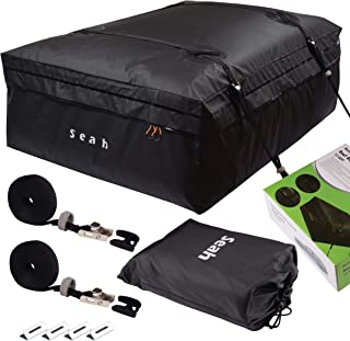 Seah Heavy Duty Car Top Carrier Roof Bag 100% Waterproof | Fit All Cars with or Without Rack | 15 Cubic Feet | with Straps