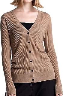 JING Women's Merino Wool Knit Cardigans Sweater Elastic Long Sleeve V-Neck 19152
