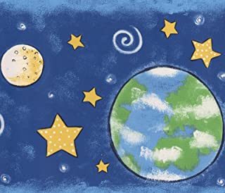 Outer Space Planets Stars Navy Blue Wallpaper Border for Kids, Roll 15' x 7''