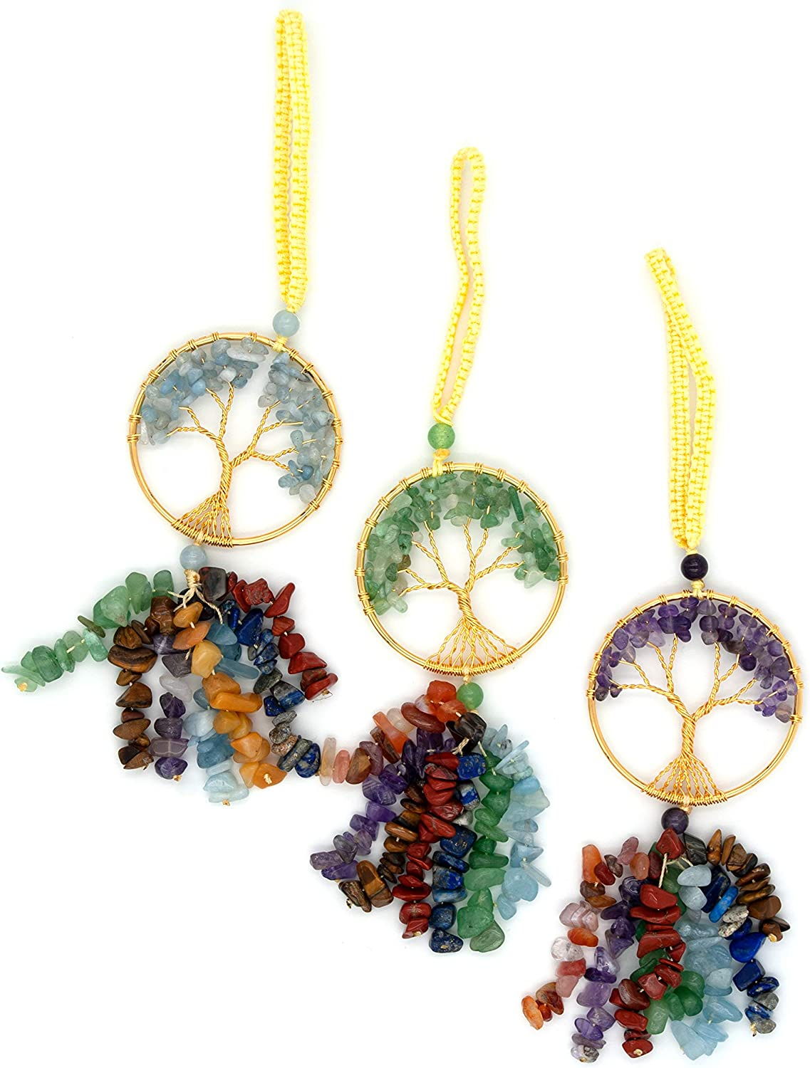 EXLUWOR Tree of discount Austin Mall Life Chakra Stones Me Healing Feng Crystals Shui