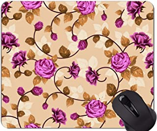 Gaming Mouse Mat,Leaves rose material art flower -Stitched Edges