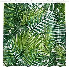 BROSHAN Leaf Print Shower Curtain Fabric,Tropical Green Leaf Palm Leave Jungle Summer Hawaiian Nature Scene Art Printing,Waterproof Fabric Bathroom Bath Decor Set with Hooks,72x84 Inch,Green, White