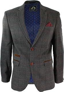 Mens Tan Brown Check Herringbone Tweed Vintage Fit Blazer Jacket Velvet Trim