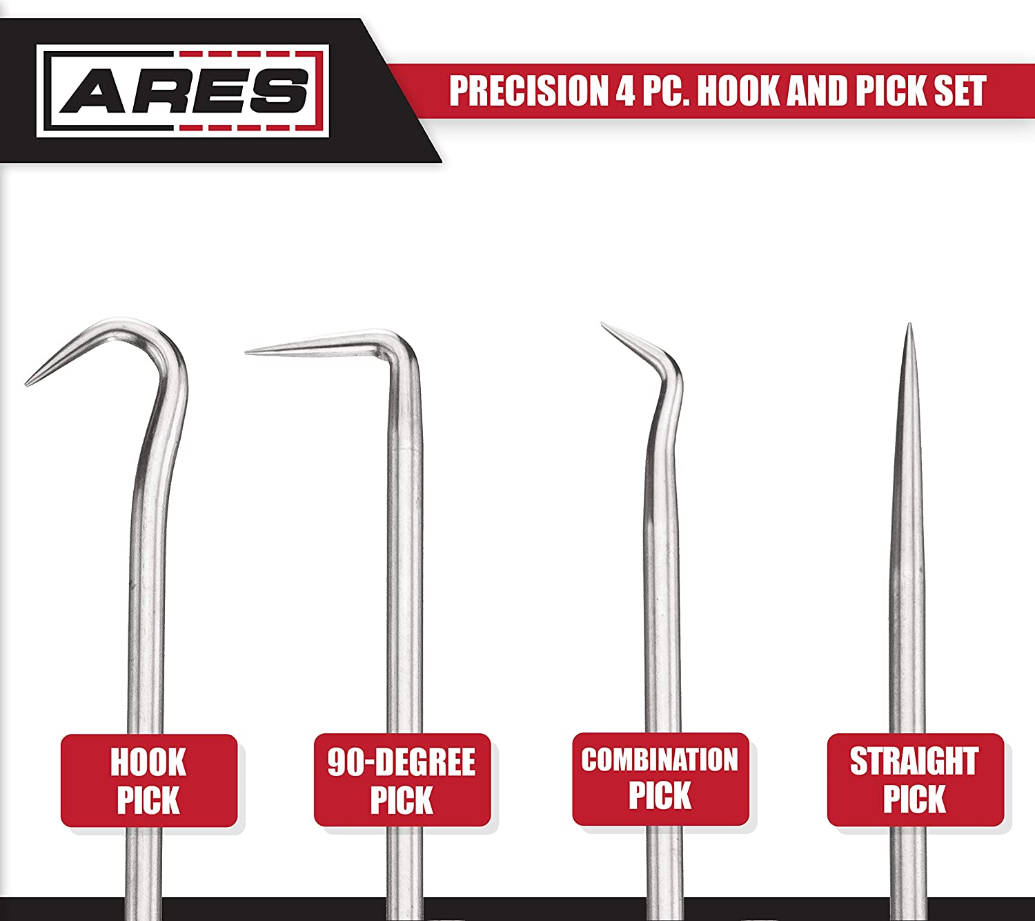 4-Piece Set Includes Precision 90 Degree ARES 70256 Chrome Vanadium Steel Shaft Precision Hook and Pick Set Easily Remove Hoses and Gaskets Combination and Straight Hooks and Picks Hook