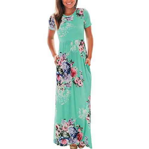 7b75fc9b2f Murimia Women's Floral Print Short Sleeve Empire Flower Maxi Casual Dress  with Pocketed