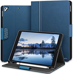 KingBlanc iPad Air 3rd Gen 10.5/iPad Pro 10.5 Case, iPad 8th/7th Generation 10.2 Case with Apple Pencil Holder, Auto Sleep/Wake Pu Leather Smart Cover with Stand Function for iPad 10.2/10.5 inch(Blue)