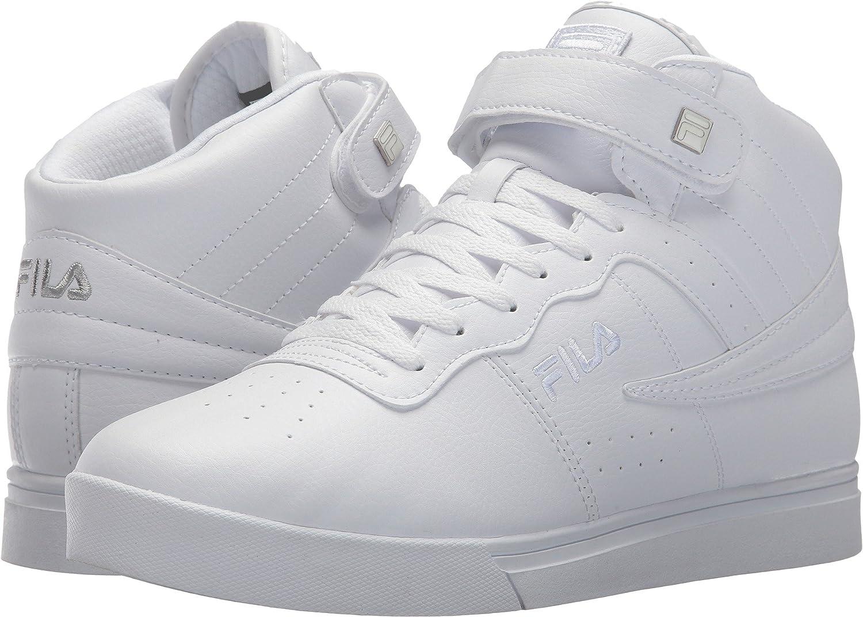 Fila Men's Vulc 13 Mid Plus Fashion Sneakers, White, Microsuede, Rubber, 14 M