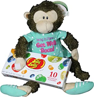 Get Well Gifts - 8 Cuddly Marvin Monkey Hang In There Plush Get Well Soon Gift with Jelly Belly Jelly Beans