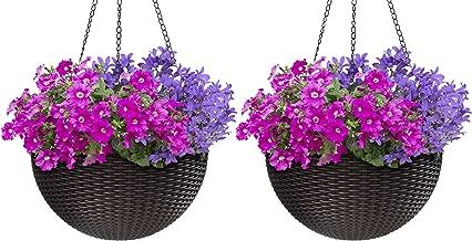 hanging wicker basket planter
