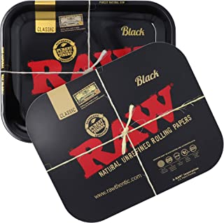 RAW Bundle - Black Rolling Tray with Black Magnetic Tray Cover | Size - Large | Perfect Storage for Home or On-The-Go