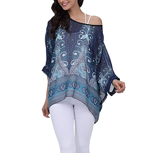 cec3b495 Vanbuy Women Summer Floral Printed Batwing Sleeve Top Chiffon Poncho Casual  Loose Blouse