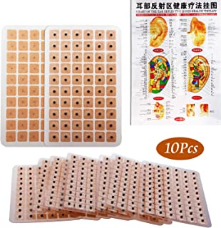 600 Counts Acupuncture Ear Seeds Disposable Ear Press Vaccaria Seeds Multi-Function Ear Seed Acupressure Kit (10 Sheets) with 1 Chart of Ear Acupuncture Point Relative to Body