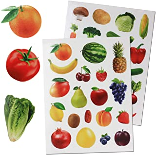 Royal Green Fruits & Vegetables Stickers for Arts and Crafts. Permanent Adhesive Sticker Labels for Teachers Classroom Lea...