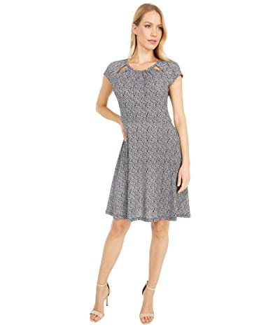 MICHAEL Michael Kors Paisley Geo Neck Dress (Black/White) Women