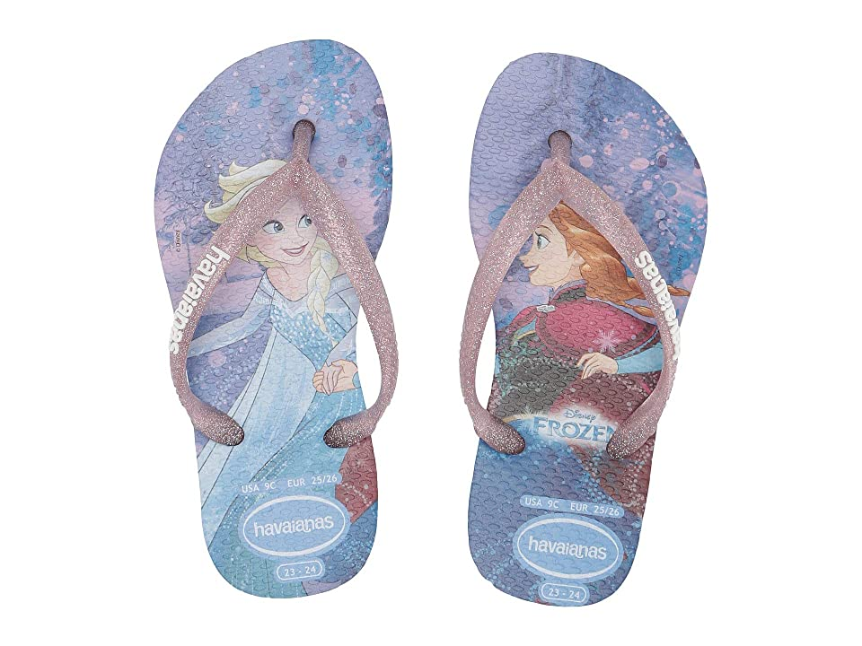 Havaianas Kids Slim Frozen Flip Flops (Toddler/Little Kid/Big Kid) (Blue) Girls Shoes
