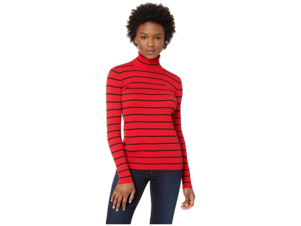 LAUREN Ralph Lauren Striped Turtleneck Sweater (Lacquer Red/Polo Black) Women