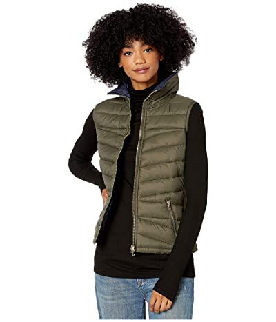 YMI Snobbish Reversible Puffer Vest (Olive/Black) Women