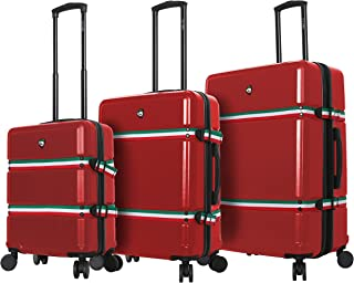 Mia Toro Italy Nastro Hard Side Spinner Luggage 3 Piece Set, Red, One Size