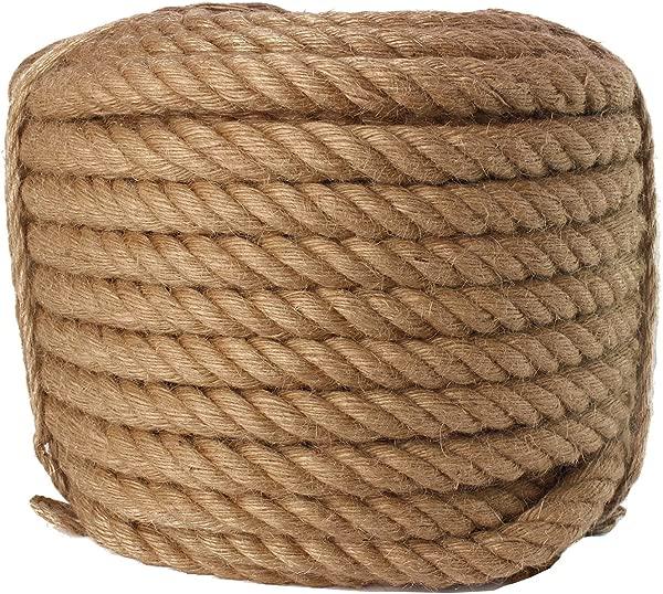 Twisted Manila Rope Jute Rope 100 Feet Natural Jute Twine Hemp Rope 3 4 Inch Diameter Twine Burlap Rope