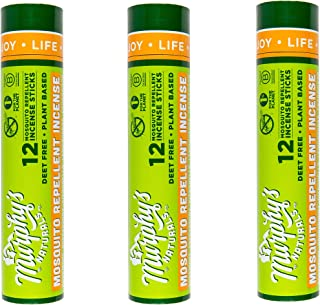 Murphy's Naturals Mosquito Repellent Incense Sticks | Bamboo Incense w/Citronella, Rosemary, Lemongrass, Peppermint & Cedarwood Essential Oils | Plant Based DEET Free | 12 Sticks per Tube | 3 Pack