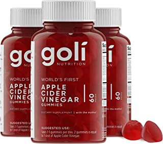World's First Apple Cider Vinegar Gummy Vitamins by Goli Nutrition - Immunity, Detox & Weight (3 Pack, 180 Count, with The Mother, Gluten-Free, Vegan, Vitamin B9, B12, Beetroot, Pomegranate)