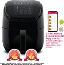 NUWAVE BRIO 3-Quart Digital Air Fryer includes Nuwave Cooking Club App, one-touch digital controls, 6 easy presets, precise temperature control, recipe book, wattage control, and advanced functions like PREHEAT, REHEAT more