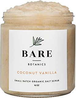 Bare Botanics Sea Salt Body Scrub (Coconut Vanilla) Mega 16oz – Gently Exfoliating & All Natural | Non-Greasy, Ultra Moist...