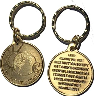 Universe One Day At A Time AA Keychain Medallion Sobriety Chip Serenity Prayer Key Tag