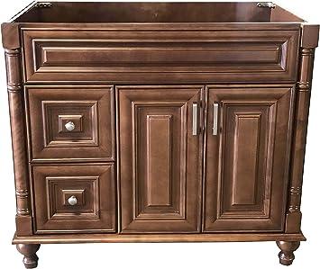 Amazon Com Maple Walnut Solid Wood Single Bathroom Vanity Base Cabinet 36 W X 21 D X 32 H Left Drawers Kitchen Dining