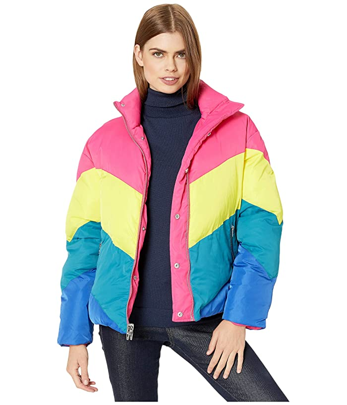 80s Windbreakers, Jackets, Coats Blank NYC Nylon Reversible Puffer Jacket in Temptations Multicolor Womens Clothing $135.83 AT vintagedancer.com