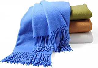CUDDLE DREAMS Premium Cashmere Throw Blanket with Fringe, Luxuriously Soft (Porcelain Blue)