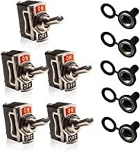 MGI SpeedWare Metal Toggle Switches & Waterproof Covers (5 Pack) — SPST 2-Pin Momentary (ON)-OFF