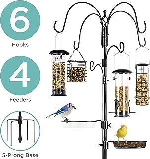 Best Choice Products 89in 6-Hook Bird Feeding Station, Steel Multi-Feeder Stand w/ 4 Feeders, Tray, Bird Bath - Black
