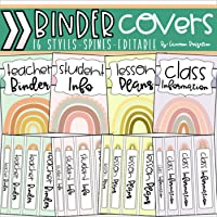 Binder Covers and Spines Teacher Planner Boho Rainbow Theme