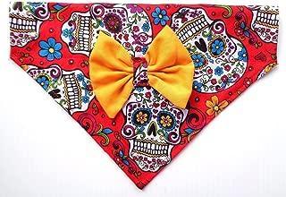 2 in 1 Dog Cat Bandana Bow Sugar Skull Day of the Dead Cinco de Mayo