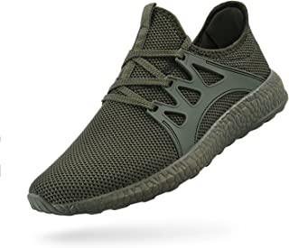 Troadlop Womens Non Slip Running Shoes Air Knitted Lightweight Sports Fashion Sneakers, green-11.5 US