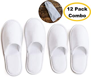 MODLUX Spa Slippers - 12 Pairs of Cotton Velvet Closed Toe Slippers with Travel Bags - Thick, Soft, Non-Slip, Disposable Slippers - Fits Most Men and Women - Perfect for Home, Hotel, or Commercial Use