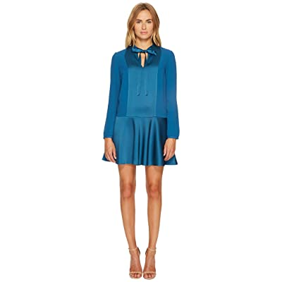RED VALENTINO Crepe Envers Satin Dress (Aqua) Women