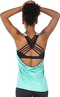 icyzone یوگا Tops Workouts لباس Activewear ساخته شده در سینه مخزن بالا برای زنان