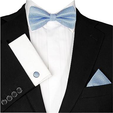 GASSANI Juego de 3 gemelos y pañuelo, diseño de pajarita fina a cuadros, 7 colores, cierre de lazo, ajustable
