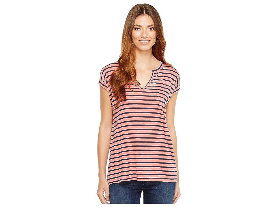 Allen Allen Stripe Split-Neck Tee (Begonia) Women's T Shirt