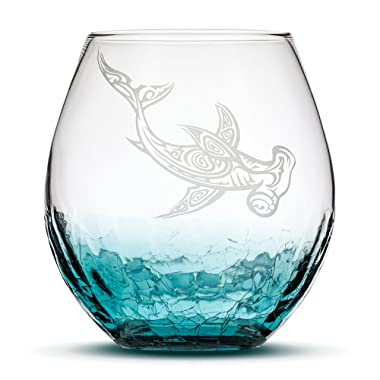 Sand Carved Stemless Wine Glass, Hammerhead Shark, Crackle Teal, Handblown, Tribal Hawaiian Design, Etched Gifts by Integrity Bottles (Crackle Teal Shark)